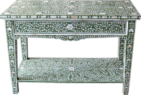 Green Console Table with Drawer,Bone Inlay Furniture, - Artisera