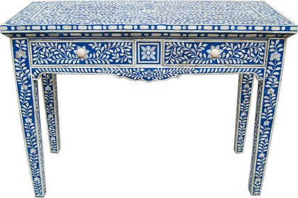 Blue Console Table with Drawers,[product_collection],Bone Inlay Furniture, - Artisera