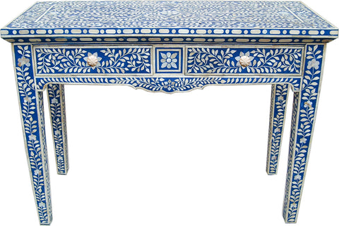 Blue Console Table with Drawers,Bone Inlay Furniture, - Artisera