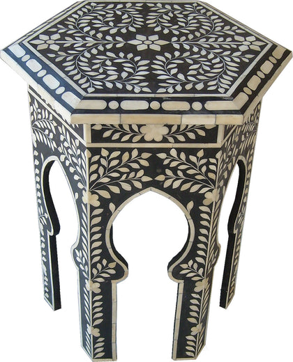 Hexagon Leaf Pattern Side Table,[product_collection],Bone Inlay Furniture, - Artisera