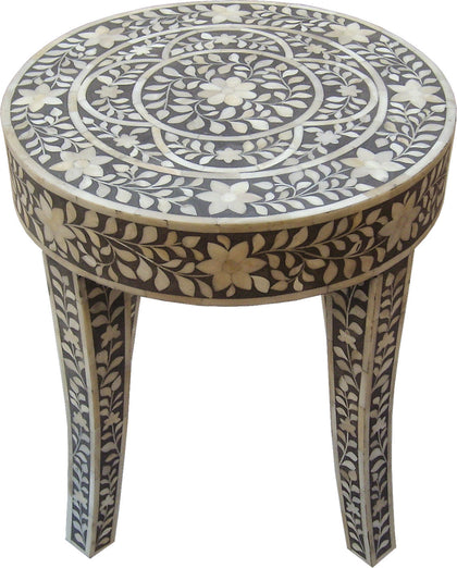 Grey Leaf Pattern Side Table,[product_collection],Bone Inlay Furniture, - Artisera