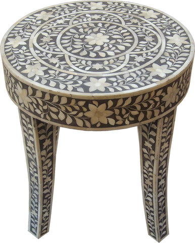 Grey Leaf Pattern Side Table,Bone Inlay Furniture, - Artisera