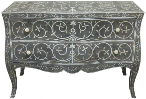 Grey Chest of Drawers,Bone Inlay Furniture, - Artisera