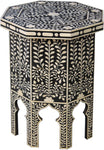 Hexagon Side Table with Leaf Pattern - I