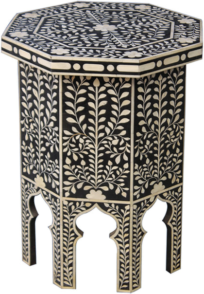 Hexagon Tall Side Table with Stylized Legs,[product_collection],Bone Inlay Furniture, - Artisera