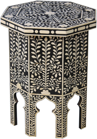 Hexagon Tall Side Table with Stylized Legs,Bone Inlay Furniture, - Artisera