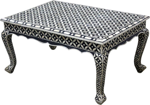 Geometric Floral Coffee Table,Bone Inlay Furniture, - Artisera