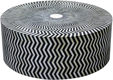 Zig Zag Retro Coffee Table,Bone Inlay Furniture, - Artisera