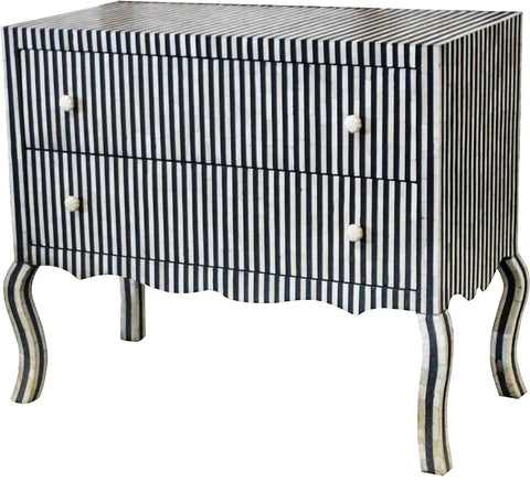 Striped Chest of Drawers,Bone Inlay Furniture, - Artisera