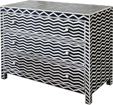 Zig Zag Retro Chest of Drawers,Bone Inlay Furniture, - Artisera