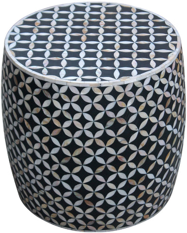 Geometric Floral Round Stool,[product_collection],Bone Inlay Furniture, - Artisera