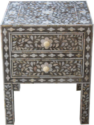 Light Grey Bedside Table with Drawers,Bone Inlay Furniture, - Artisera