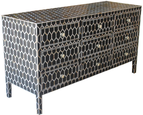 Beehive Nine Drawer Sideboard,[product_collection],Bone Inlay Furniture, - Artisera