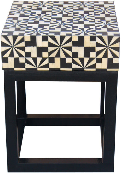 Houndstooth Side Table,[product_collection],Bone Inlay Furniture, - Artisera