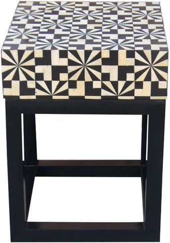 Houndstooth Side Table,Bone Inlay Furniture, - Artisera