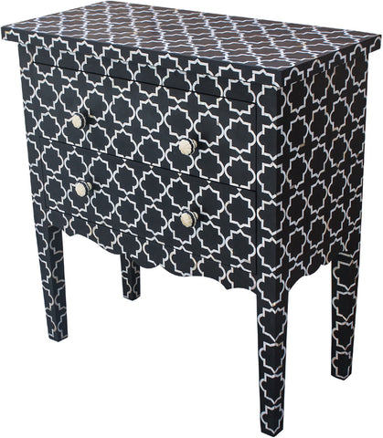 Geometric Pattern Chest of Drawers,Bone Inlay Furniture, - Artisera