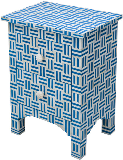 Blue Maze Bedside Table with Drawers,[product_collection],Bone Inlay Furniture, - Artisera