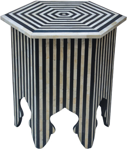 Striped Hexagon Side Table,Bone Inlay Furniture, - Artisera