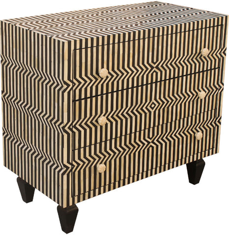 Zig Zag Chest of Drawers,Bone Inlay Furniture, - Artisera