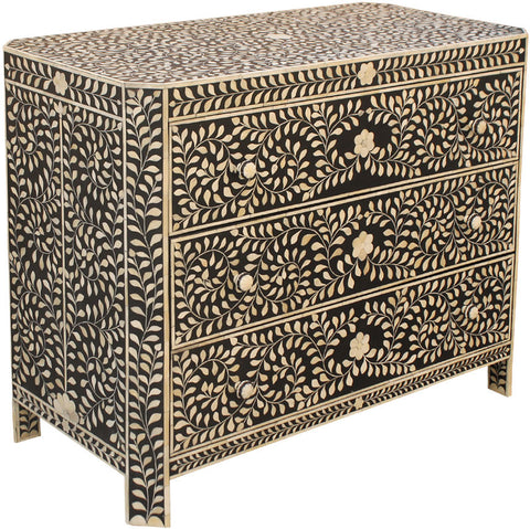 Leaf Pattern Chest of Drawers,Bone Inlay Furniture, - Artisera