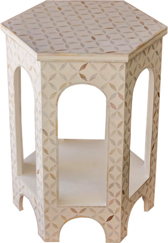 White Hexagon Side Table,[product_collection],Bone Inlay Furniture, - Artisera