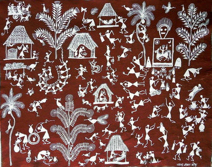Warli - Untitled 26,[product_collection],Must Art,Balu Jivya Mashe - Artisera
