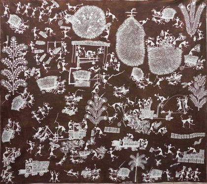 Warli - Untitled 32,[product_collection],Must Art,Balu Jivya Mashe - Artisera
