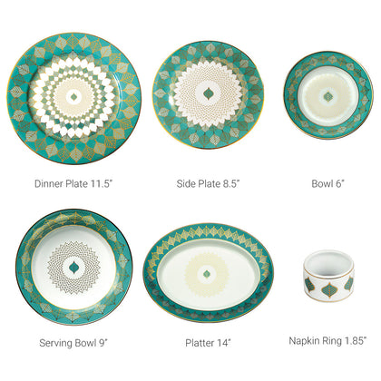 Banaras 27 Piece Dinner Set,[product_collection],Nishita Fine Dinnerware, - Artisera