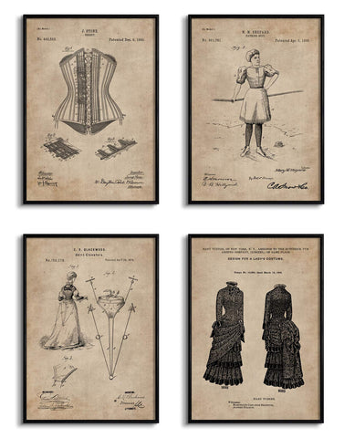 Women's Fashion Patent Documents (Set of 4)