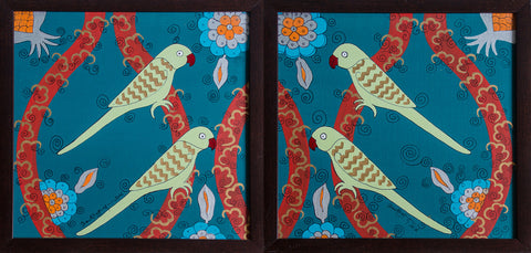 Teal Parrots,[product_collection],Pichwai S,Shan Bhatnagar - Artisera