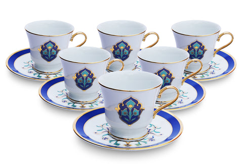 Shores of Persia Tea Cups and Saucers (Set of 6)
