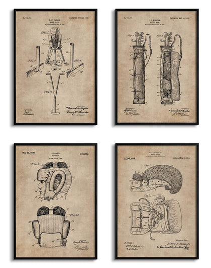 Golf and Boxing Patent Documents (Set of 4)