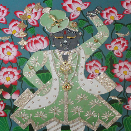 Shrinathji Playing in the Lotus Pond,[product_collection],Pichwai S,Shan Bhatnagar - Artisera