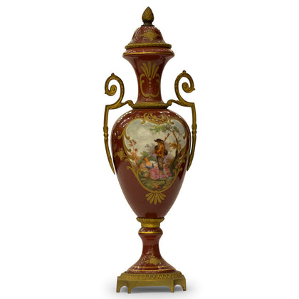 Porcelain Vase with Bronze, Red,[product_collection],Navrathan's Antique Art, - Artisera