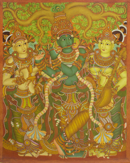 Krishna - Kerala Style Mural,[product_collection],Artisera Paintings,Roy K. John - Artisera