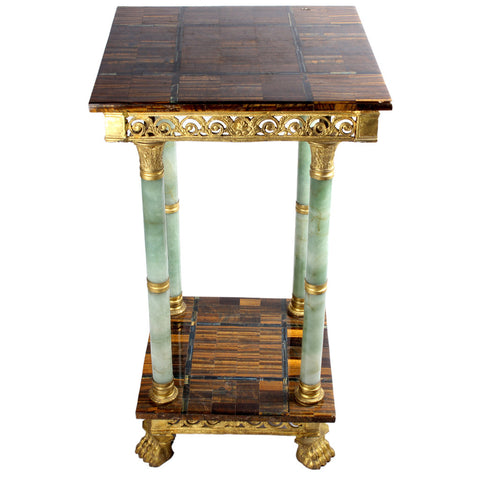 Tiger's Eye and Jade Side Table,Essajees, - Artisera