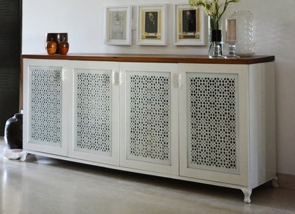 Jaali and Angled Live Edge Sideboard