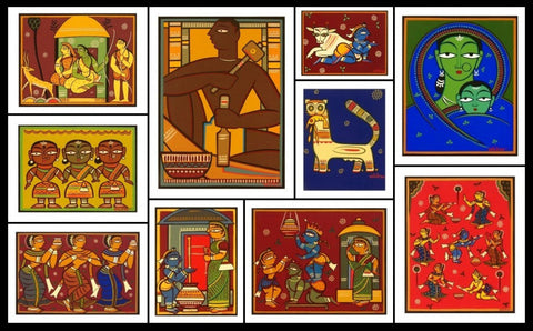Untitled (Set of 10),[product_collection],Marvel Art Gallery,Jamini Roy - Artisera