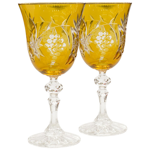 Pair of Chalice-Shaped Glasses (Orange),Navrathan's Antique Art, - Artisera