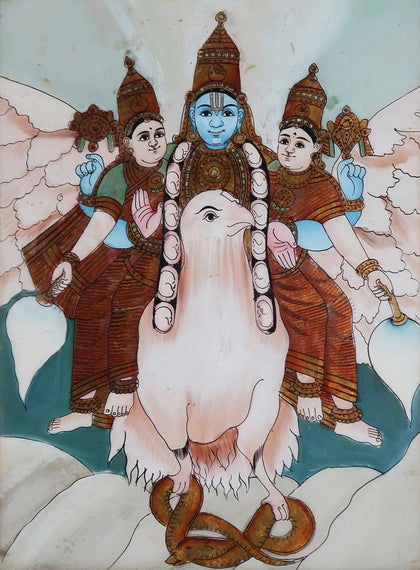 Vishnu and his Consorts on Garuda