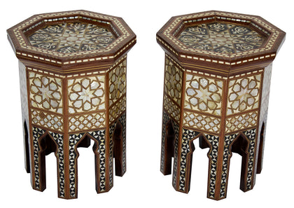 Pair of Side Tables with Mother of Pearl Inlay