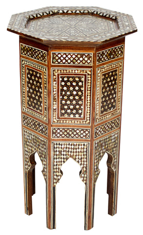 Tall Side Table with Mother of Pearl Inlay