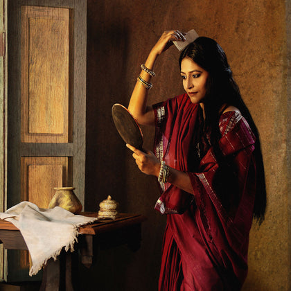Lady with the Mirror Combing Her Hair (Saloni Puri), 2009,[product_collection],Tasveer,Rohit Chawla - Artisera
