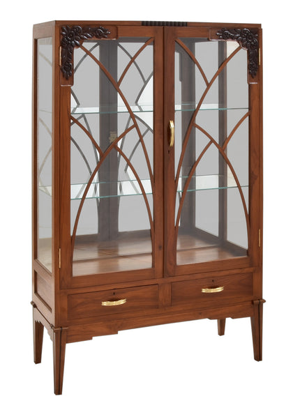 Art Deco Display Cabinet with Glass Doors