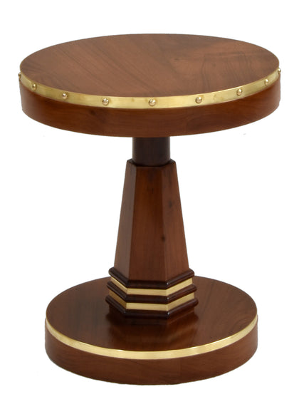 Art Deco Side Table with Brass Trim
