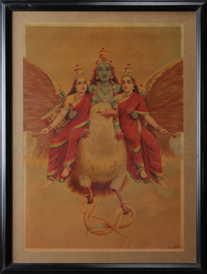 Vishnu on Garuda with Consorts
