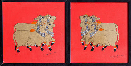 Devoted Cows (Red),[product_collection],Pichwai S,Shan Bhatnagar - Artisera