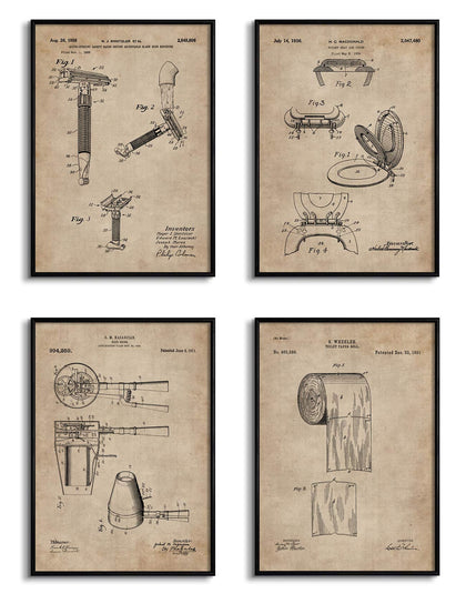 Bathroom Essentials Patent Documents (Set of 4)