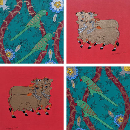 Cows and Parrots (Set of 4)