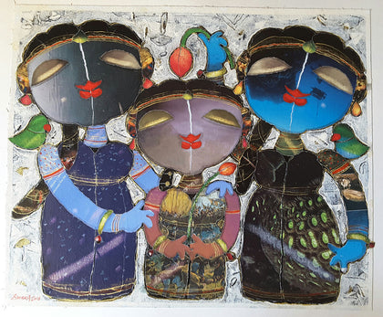 Sisters in Festive Mood,[product_collection],Artisera Paintings,G. Subramanian - Artisera